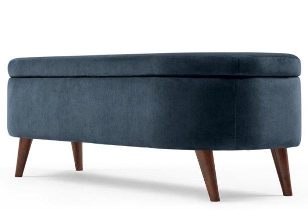 Lulu Ottoman Bench, Indigo Blue