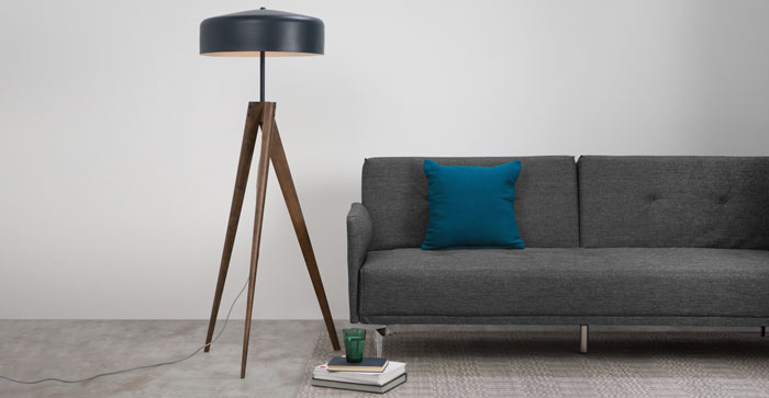 Madison Floor Lamp, Navy Blue and Dark Wood