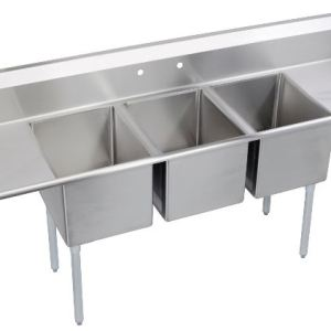 """90"""" 3 Compartment Sink with Right & Left Handed Drainboards SW0341"""