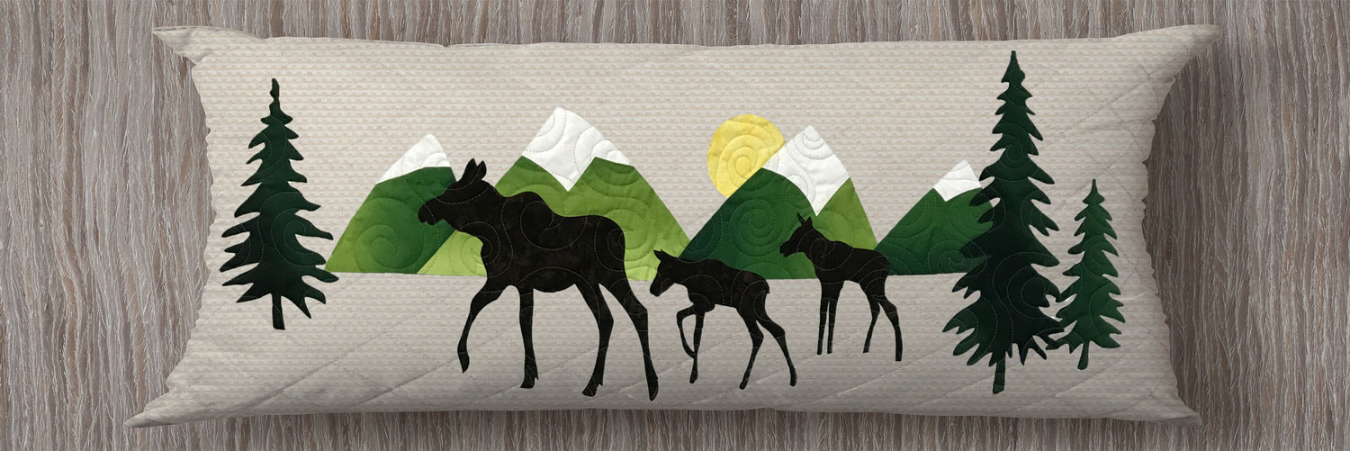 Moose Trio Applique Pillow