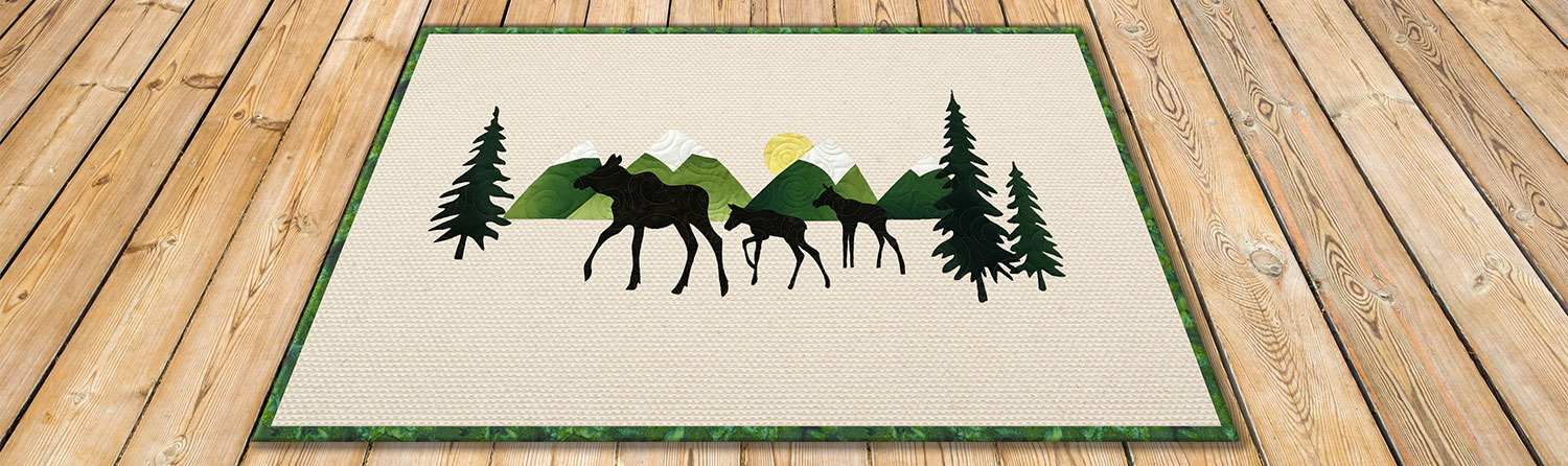 Moose Trio Applique Rug