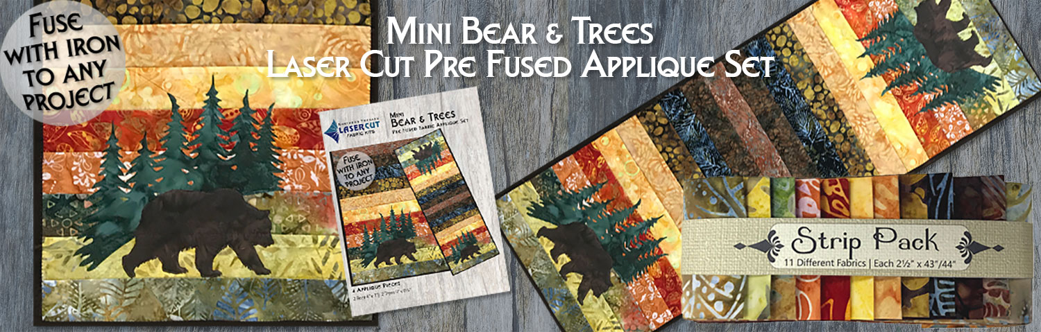 Mini Bear and Tree Pre-Fused Laser Cut Applique Sets