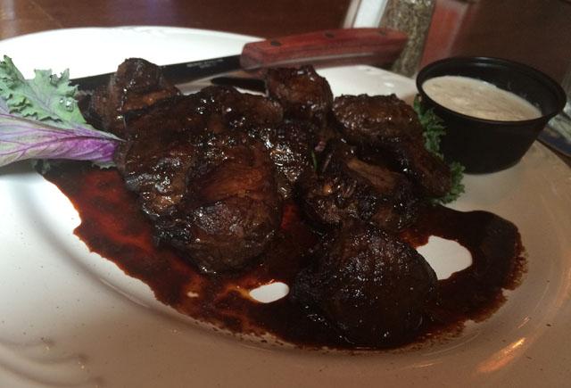 Marinated steak tidbits at Four Doors Down.