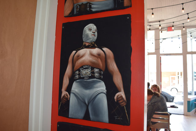 A Luchador painting inside Lucharitos in Greenport.