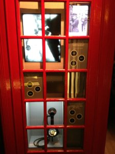 A telephone kiosk used as a display case