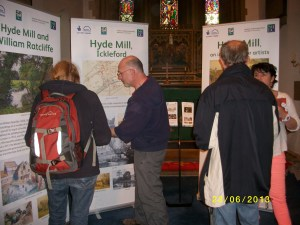 Display in the church on 23 June at Ickleford Open Village, showing the Hyde Mill pop-up panels.