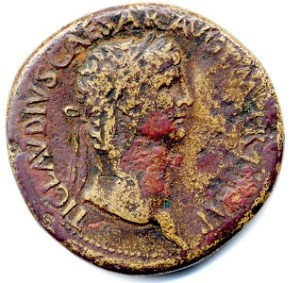 A bronze coin with a portrait of Claudius I