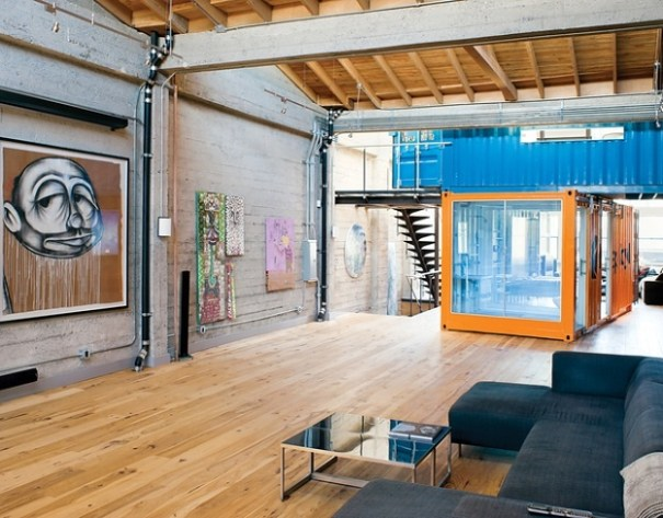 Containers in spacious interior - http://inthralld.com/2012/02/shipping-container-home-office-guest-bedroom-in-san-francisco-california/