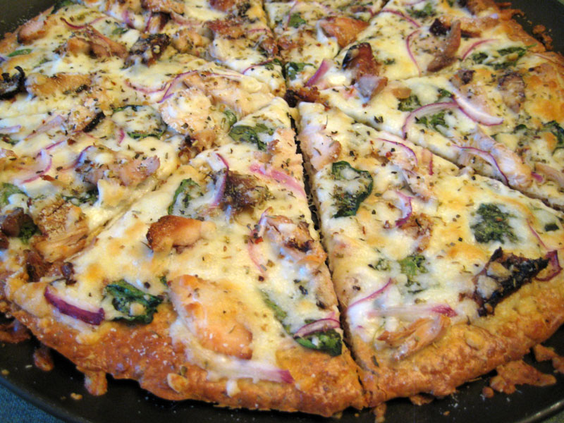 Grilled Chicken and Spinach Pizza