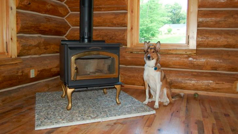 Protect floors and walls when heating with a wood stove for Floor hearth