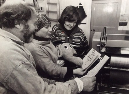"Daphne Smith, right, at the printing of Patterns Puppets & Pieces. She said: ""The elephant came from a grey cardigan I was throwing in the dustbin. I saw the arm and thought, there's an elephant""."