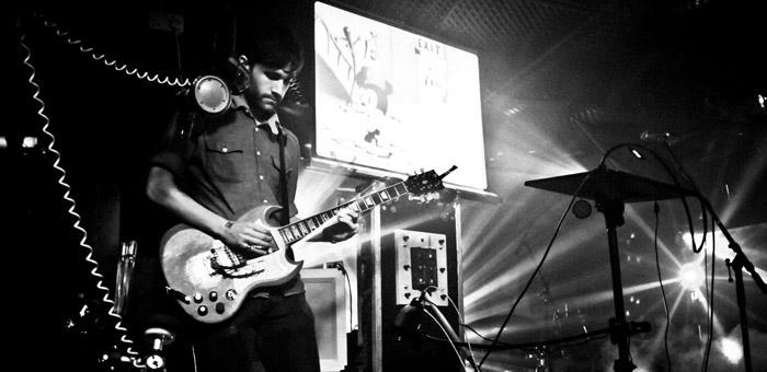 Leytonstone drum teacher Sam Thomas playing live