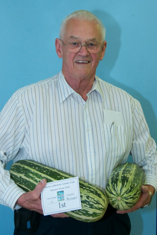 Alan Lambert with prize winning marrows