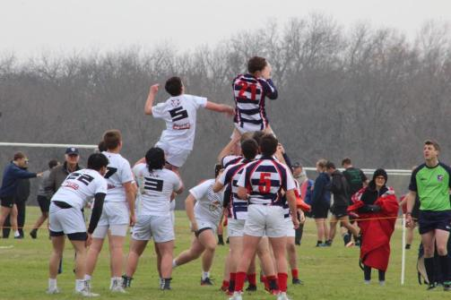 Will Hemming refereeing as Westlake High School take the ball at a line out against North Texas Barbarians.