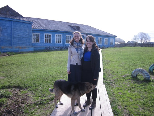 in front of the school (+street dog/best friend)