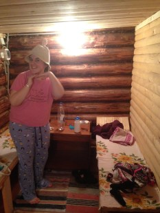 Vickie in the pre-banya room, modelling the hat you have to wear so you don't burn your ears in the banya