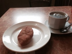 Very Soviet-style pirozhki place, that's basically deep-fried mashed potatoes (delicious)