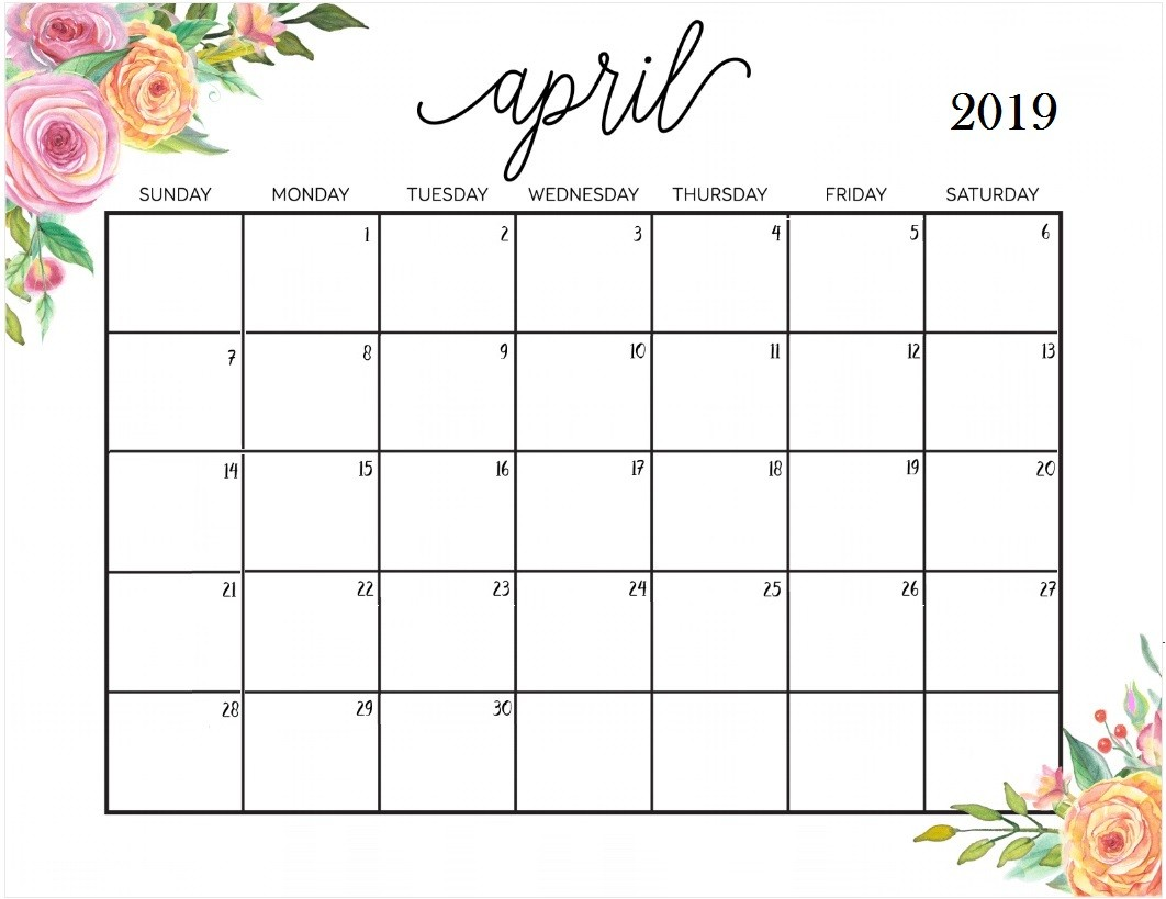 graphic about April Printable Calendar called Printable Calendar 2019 Regular April 2019 Calendar - North