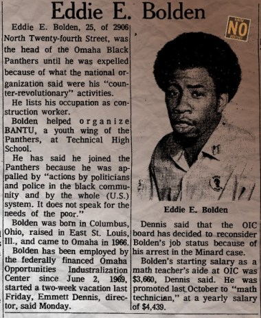 In August 1970, Eddie L. Bolden was one of five men accused of being involved in a bombing that killed Officer Larry Minard of the Omaha Police Department.