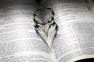 Easter bible with crown ot thorns