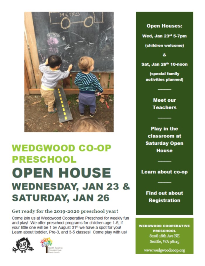 Wedgwood Co-Op Open House 1/23 and 1/26