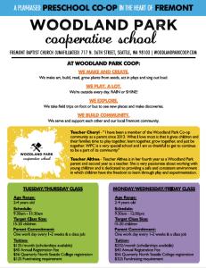 Woodland Park Preschool Open House Flyer