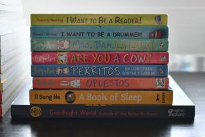 Books including I Want to be a Reader and Perritos