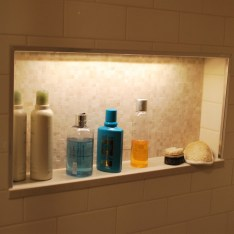 Shower Niche with custom tile work and LED lighting