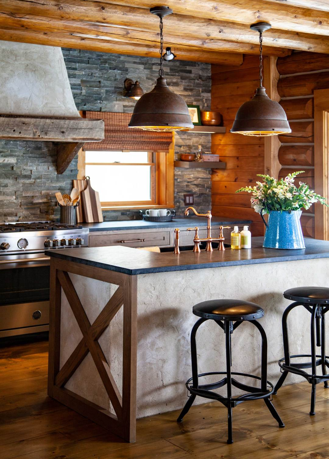 Vermont Kitchen with Custom Plaster Island and Plaster Hood