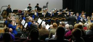 North Shore Brass in action with musical director Colin Clark