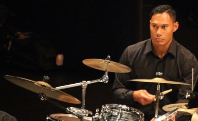 Laying down the best beat in the land - percussionist Leni Sulusi.