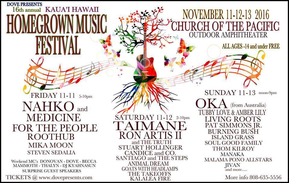 16th Annual Homegrown Music Festival on Kauai, Hawaii