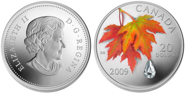 2009-20-Dollar Canadian Autumn-Showers-Crystal-Raindrop-Silver-Coin