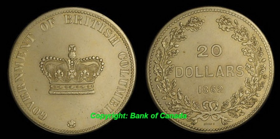 British Columbia Twenty Dollars 1862