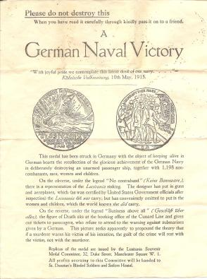 1916 Lusitania Propaganda  Leaflet
