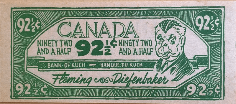 Diefenbaker - 92-1/2 cents. Same both sides