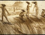 Early drawings of Hawaiian surfers;