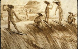 Early drawings of Hawaiian surfers;
