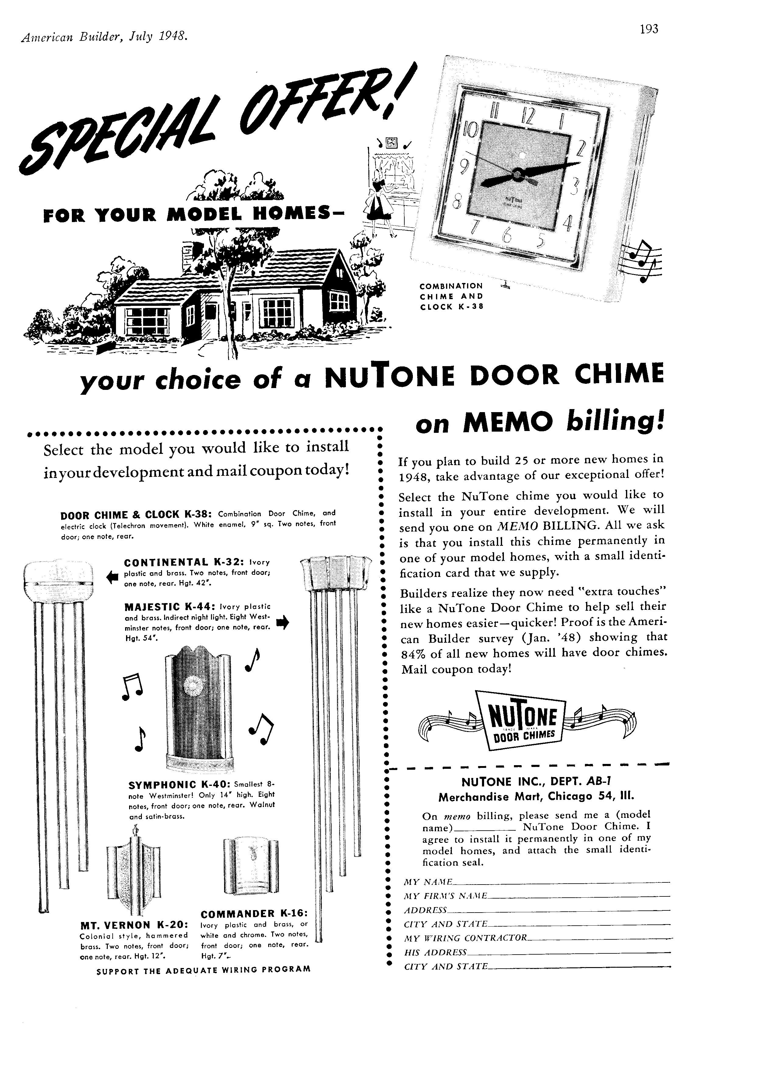 Nutone Clock Door Chime Wiring Diagram Broan Chimes Doorbell