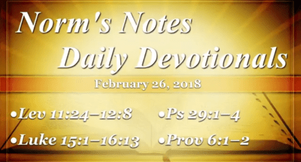 Norm's Notes for February 26, 2018