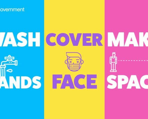 HM Government Covid advice poster. Wash Hands, Cover Face, Make Space