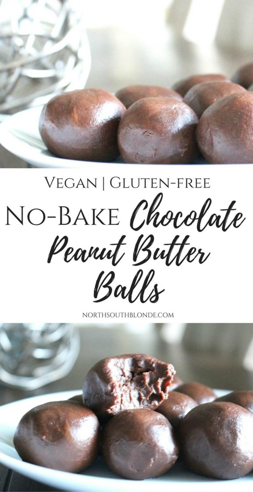 No-Bake Chocolate Peanut Butter Balls (Vegan, Gluten-Free)