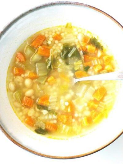 homemade vegetable and navy bean soup