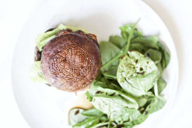 Portobello Mushroom Bacon Burgers are extremely juicy, delicious, and healthy. The ultimate paleo meal that's low in carbs and high in protein.