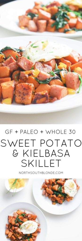 This healthy sweet potato and kielbasa skillet is high in protein and fibre, a hearty whole 30 approved breakfast made in only 20 minutes. One pot   Easy   Paleo Breakfast   Paleo Recipes   Whole 30 Recipes   Uncured Meat   Sugar Free   Non GMO   Gluten-Free   Weight Loss   Low Carb   Low Fat   Brunch   Lunch Recipe   Lunch   Organic   Clean Eating   Breakfast Hash   Filling   Fitness   Wholesome   Crispy  