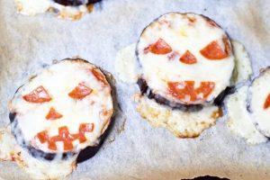 Eggplant Jack-o-Lantern Pizzas (Low Carb, Keto, and Gluten-Free)