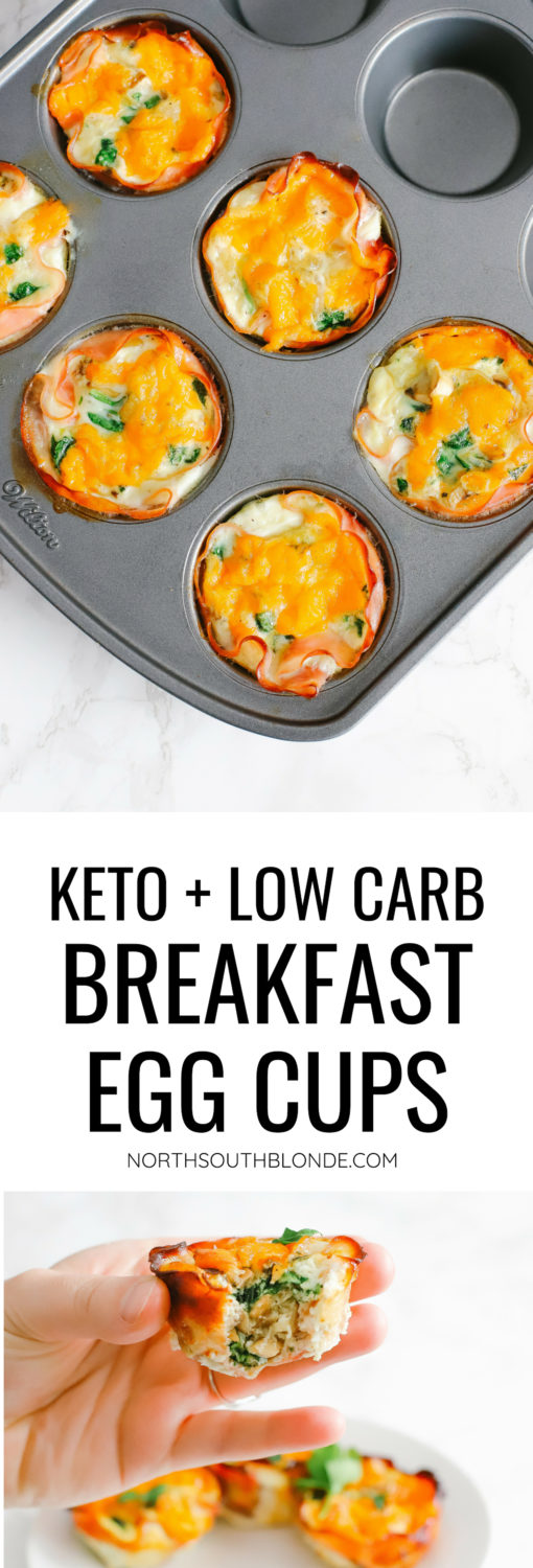 Keto and low carb egg cups are easy to prepare and great for a quick, on-the-go breakfast. Store in the fridge or freezer, reheat, and enjoy. Keto Breakfast Recipes | Low Carb Recipe | Egg Whites | Ham and Egg Cups | Easy Recipes | Fat Burn | Weight Loss | Low Calorie | Gluten-Free | Sugar Free | Whole 30 | Paleo | Kid-Friendly | Quick and Easy |