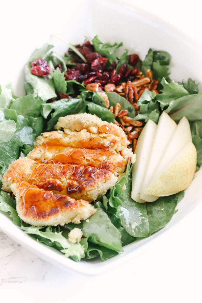 This sugar free, gluten-free, vegan chicken salad is a game changer when it comes to easy, plant-based dinners. Under 30 minutes. Delicious and healthy! Vegan Dinner | Meat Alternative | Chicken Substitute | Summer Salad | Sweet and Savoury | Vegetarian | No Meat | Dairy Free | Sugar Free | Clean Eating | Plant Based | Pears | Anjou Pears | Pear Glaze | Pear Glazed | Cranberry Salad | Pecan Salad |