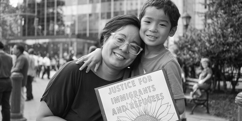 Jennifer Ching at DACA rally with her son