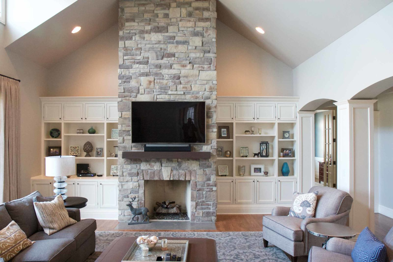 Stone Fireplace Cathedral Ceiling Stone Veneer